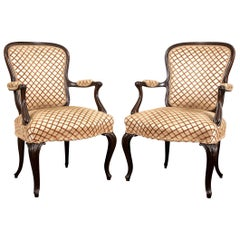 Pair of Italian Carved Wood and Upholstered Fauteuils