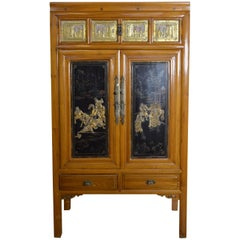 Chinese Early 20th Century Lacquered Armoire with Gilt Carved Warrior Motifs