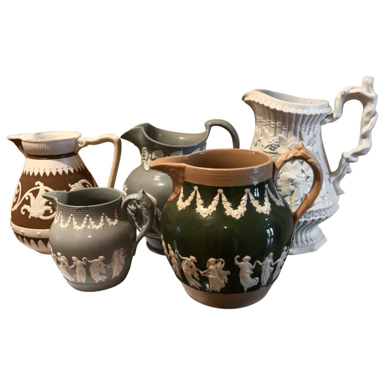 Lot of Five Mid-19th CenturyRelief Pitchers or Jugs by Cobridge & Copelands