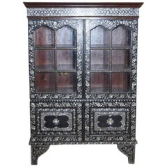 19th Century Indian Ebonized Wood Cabinet with Mother-of-Pearl Inlay and Glass