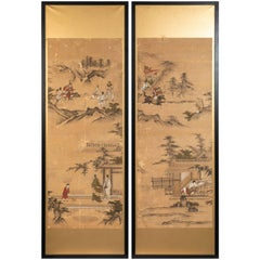 Antique Narrative Japanese Screen Panels on Gold Leaf, c. 1850-60
