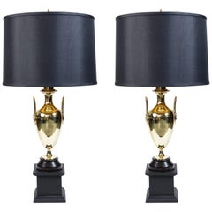 Pair of Vintage Brass Trophy Lamps