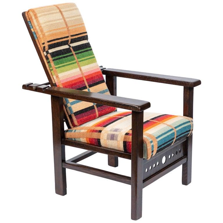 Antique Oak Child's Morris Style Chair For Sale