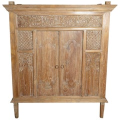 Antique Hand-Carved White Washed Teak Cabinet with Scrollwork and Paneled Doors