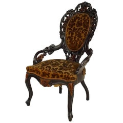 American Victorian Ebonized and Wood Trimmed Armchair