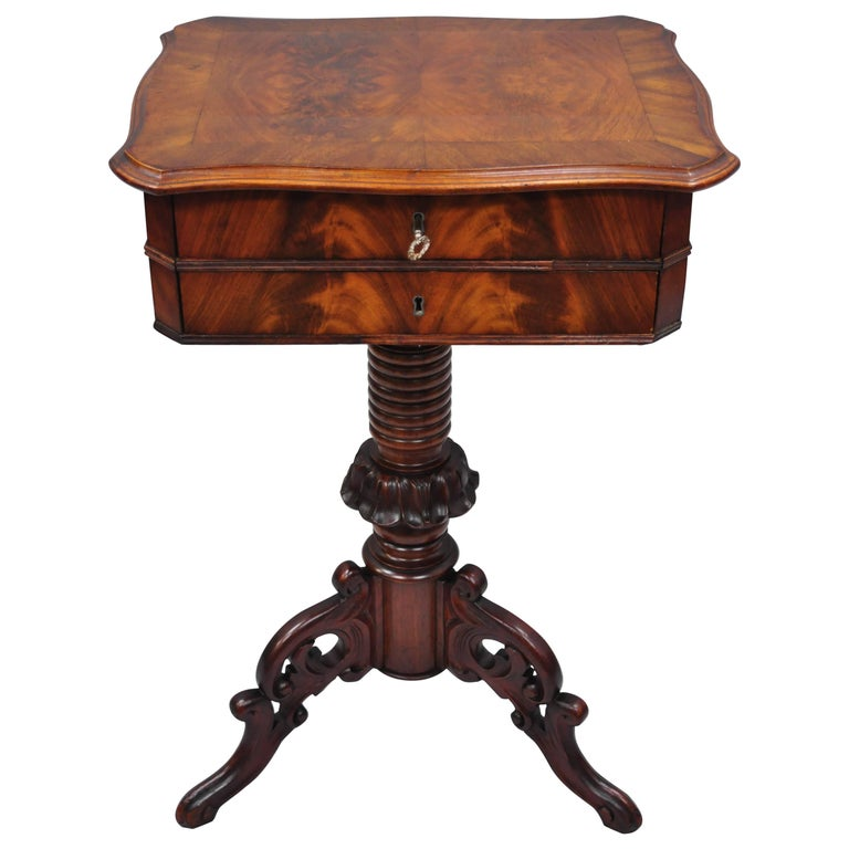 Antique Victorian Sewing Stand Side Table Crotch Mahogany and Walnut Flip Top