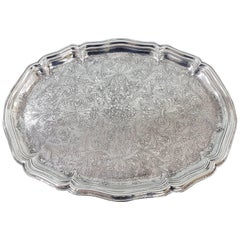 19th Century Italian Silver Oval Baroque Tray, Completely Engraved by Hand