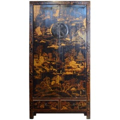 Antique Black Lacquered Chinese Armoire with Hand-Painted Gilded Scenes