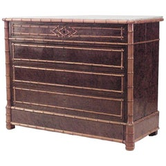 American Victorian Faux Bamboo Maple and Burl Wood Chest of Five-Drawer