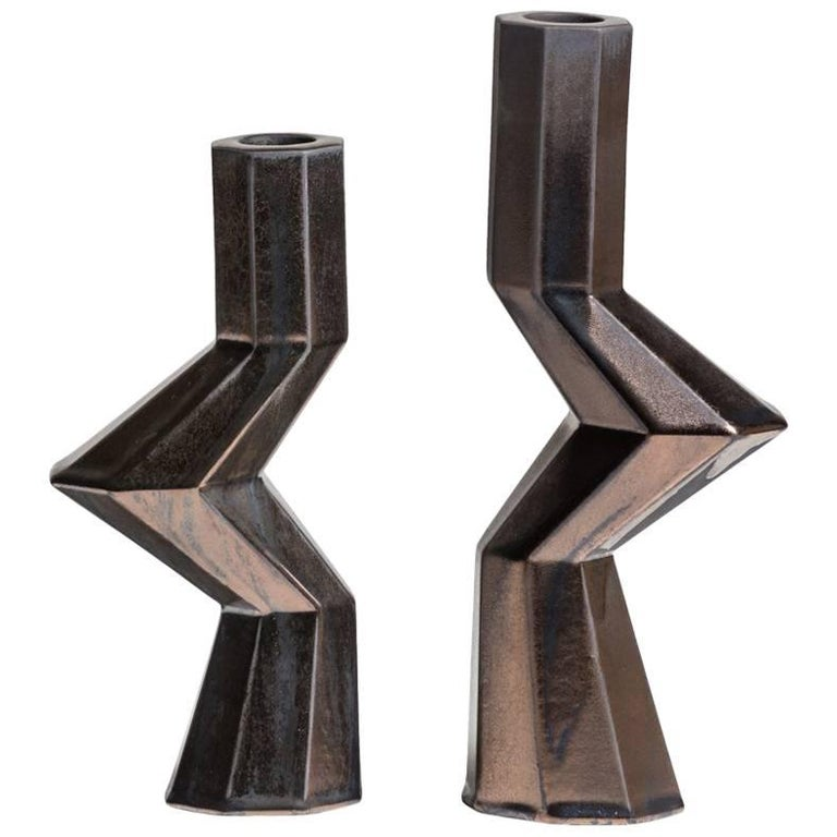 Lara Bohinc, Fortress Militia Candlesticks, Bronze Ceramic For Sale