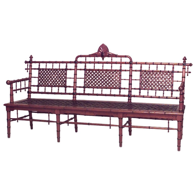 American Victorian Faux Bamboo Mahogany Settee with Spindle Trim and Cross
