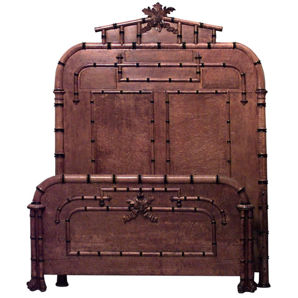 American Victorian Faux Bamboo Maple Queen-Size Bed