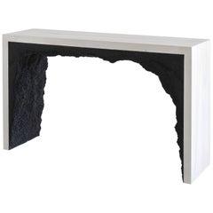 Strata 3 Console, White Cement and Black Silica by Fernando Mastrangelo