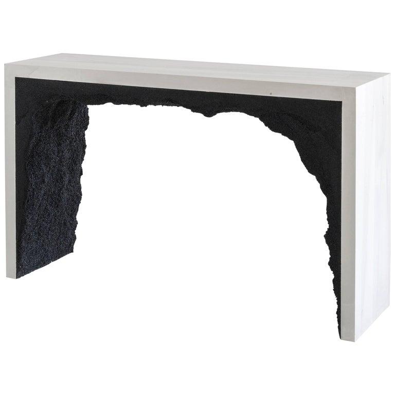 Strata Three Console, White Cement and Black Silica by Fernando Mastrangelo