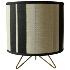 Italian Blue and Crème Striped Table Lamp, 1950s