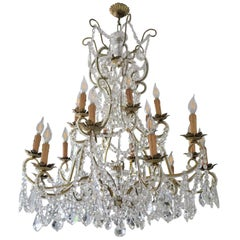 Impressive Handcrafted Italian Gilt Iron and Crystal Chandelier