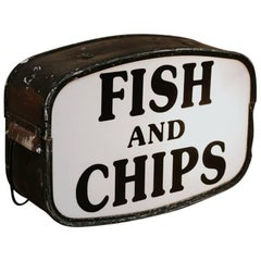 """1970s Vintage Double-Sided """"Fish and Chips"""" Shop Sign, Signed Cowling Sign"""