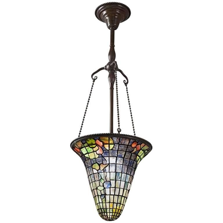 Tiffany Studios New York Leaded Glass Chandelier