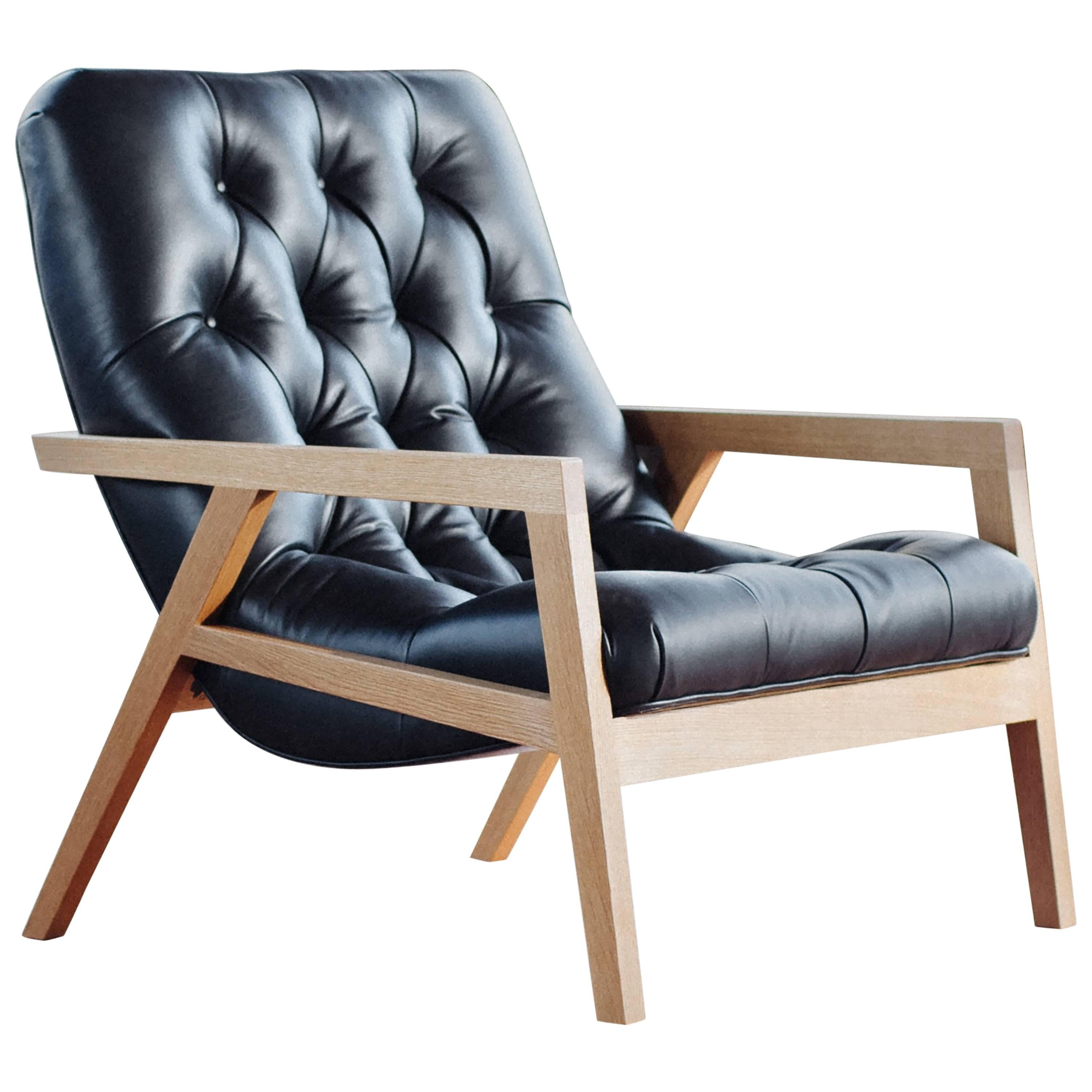Regina Lounge Chair with White Oak Frame and Leather Diamond Tufted Upholstery