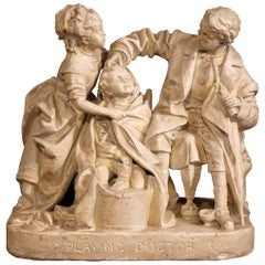 "19th Century American Cast Plaster Sculpture ""Playing Doctor"" Signed John Rogers"