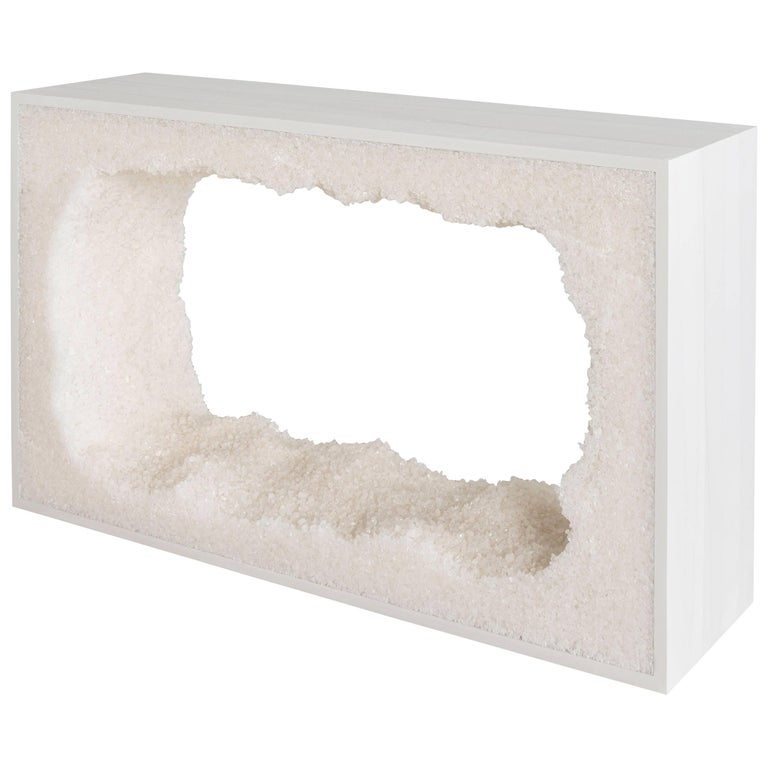 Strata Four Console, White Cement and White Rock Salt by Fernando Mastrangelo