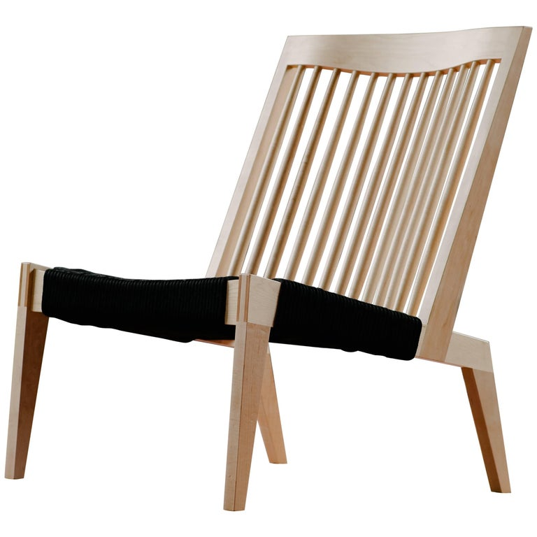 Swift Easy Chair, Handmade Modern Spindle Back Maple and Rope Woven Lounge Chair