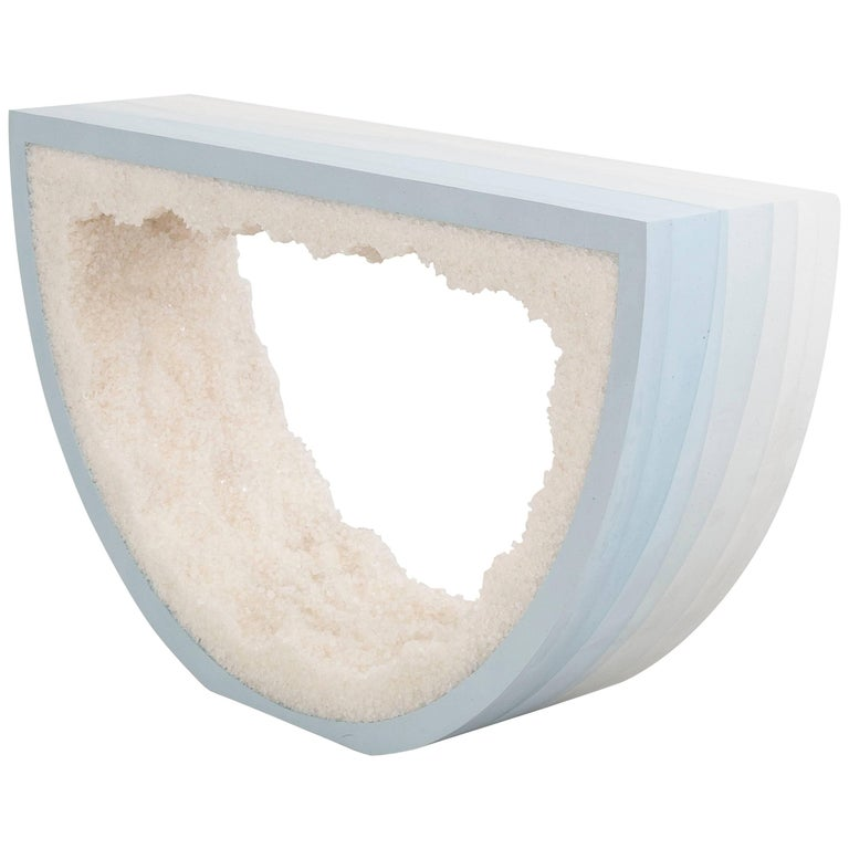 Ombre Radius Console, Skyblue Cement and White Rock Salt by Fernando Mastrangelo For Sale