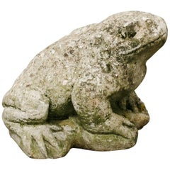 Charming Cement Toad Garden Sculpture