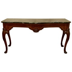 Antique Queen Anne Fashioned Sideboard Console Malachite Style Marble Top