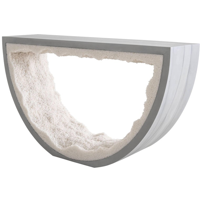 Radius Console, Grey Cement and Crystal Quartz by Fernando Mastrangelo