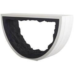 Radius Console, White Cement and Black Silica by Fernando Mastrangelo