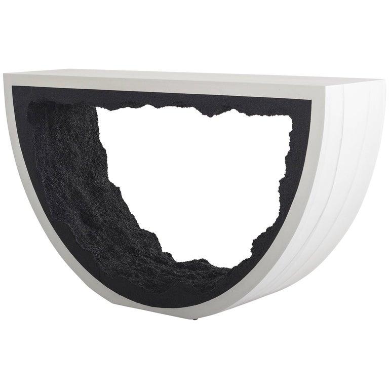 Radius Console, White Cement and Black Silica by Fernando Mastrangelo