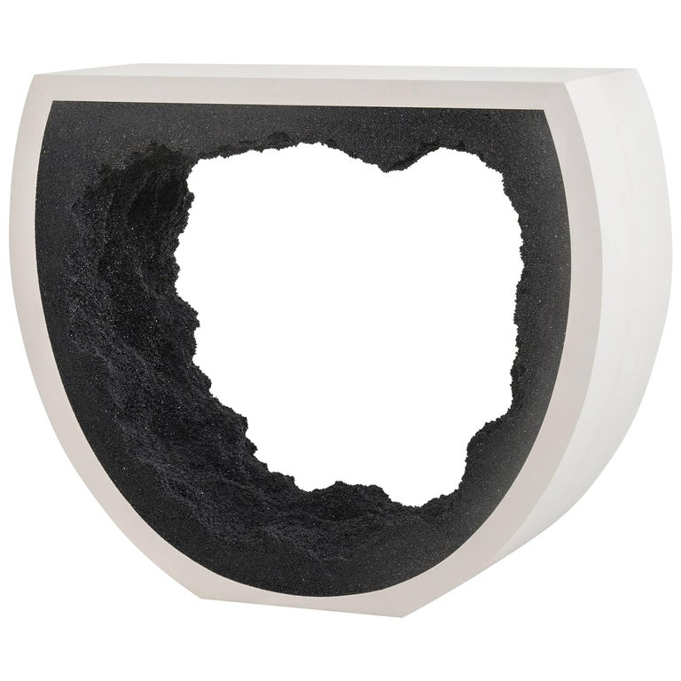 Baby Radius Console, White Cement and Black Silica by Fernando Mastrangelo For Sale