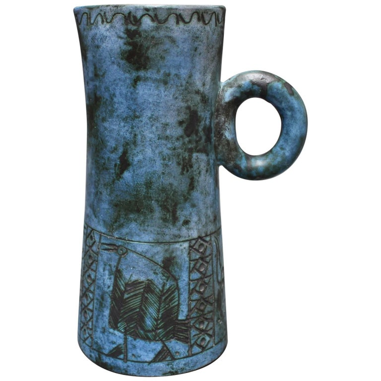 Mid-century Blue Ceramic Pitcher by Jacques Blin, Vallauris, France circa 1950s