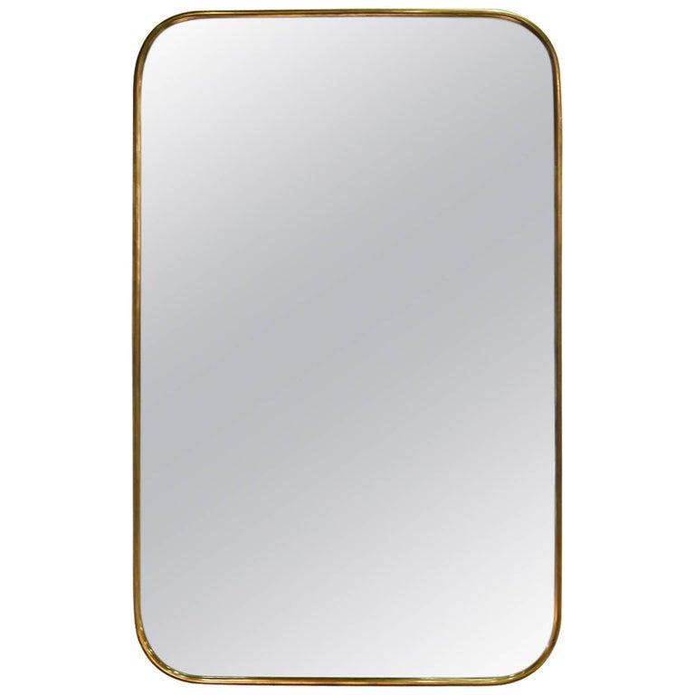 Italian Brass Mirror For Sale