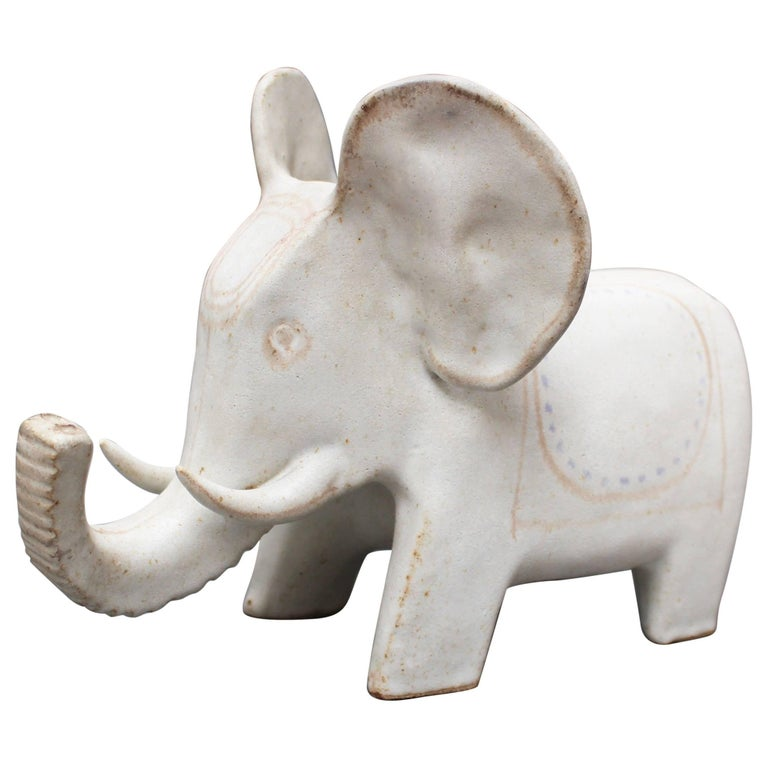 Ceramic White Elephant by Bruno Gambone, circa 1970s