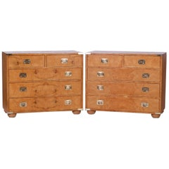 Pair of Midcentury Burl Walnut Campaign Style Chests