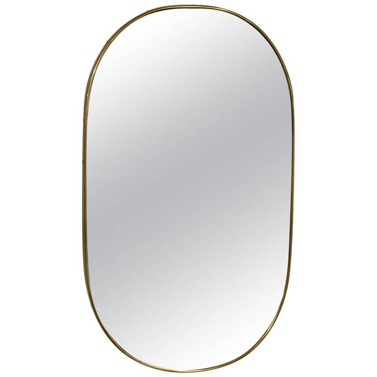 Italian Brass Mirror For Sale