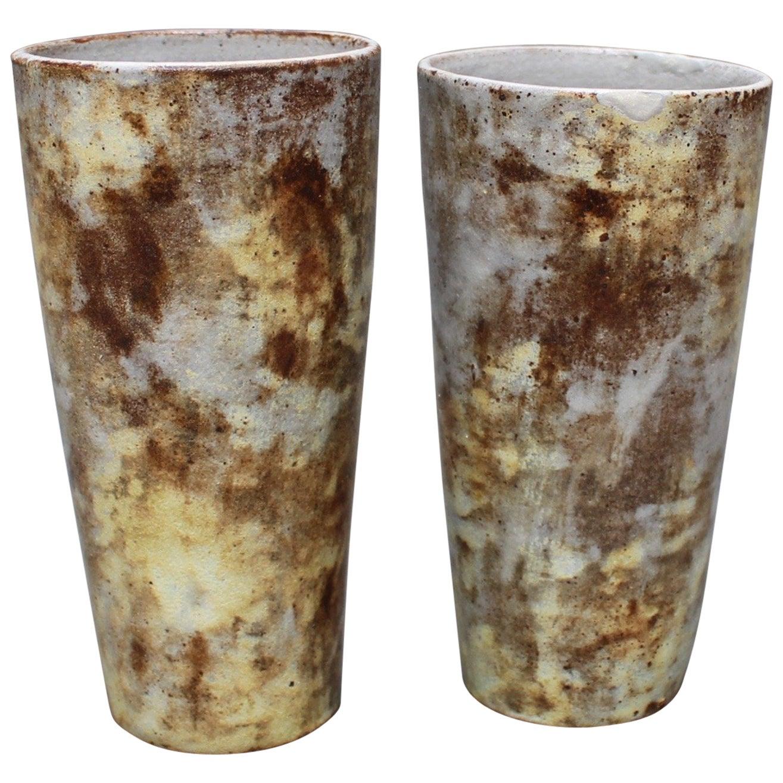 Set of Two Ceramic Vases by Alexandre Kostanda, circa 1960s