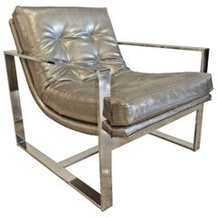 American Modern Polished Chrome Sling Chair, Milo Baughman, 1970s