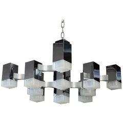 Gaetano Sciolari Cubic Mid-Century Modern Chrome Lucite 13 Light Chandelier