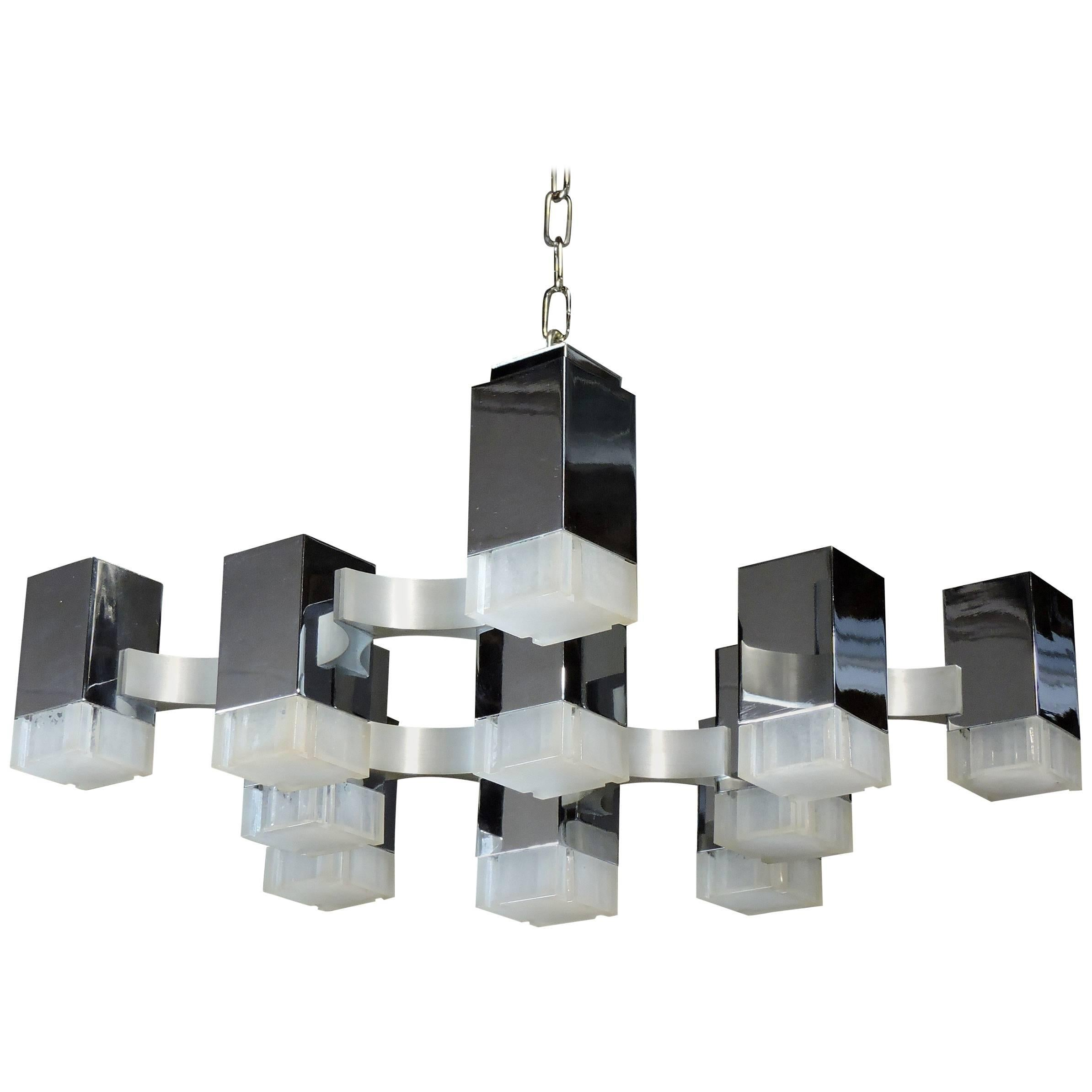 Gaetano Sciolari Mid Century Modern Chrome Cubic Chandelier Thirteen Light