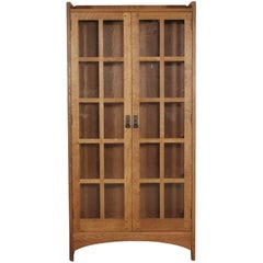 Stickley Oak Art & Crafts Tall Display Cabinet