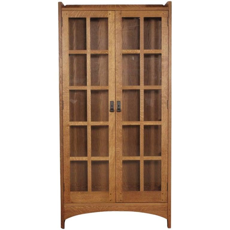 Stickley Oak Art & Crafts Tall Display Cabinet