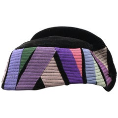 Vintage Handmade French Colorblock Hat, Marie Aubert Paris