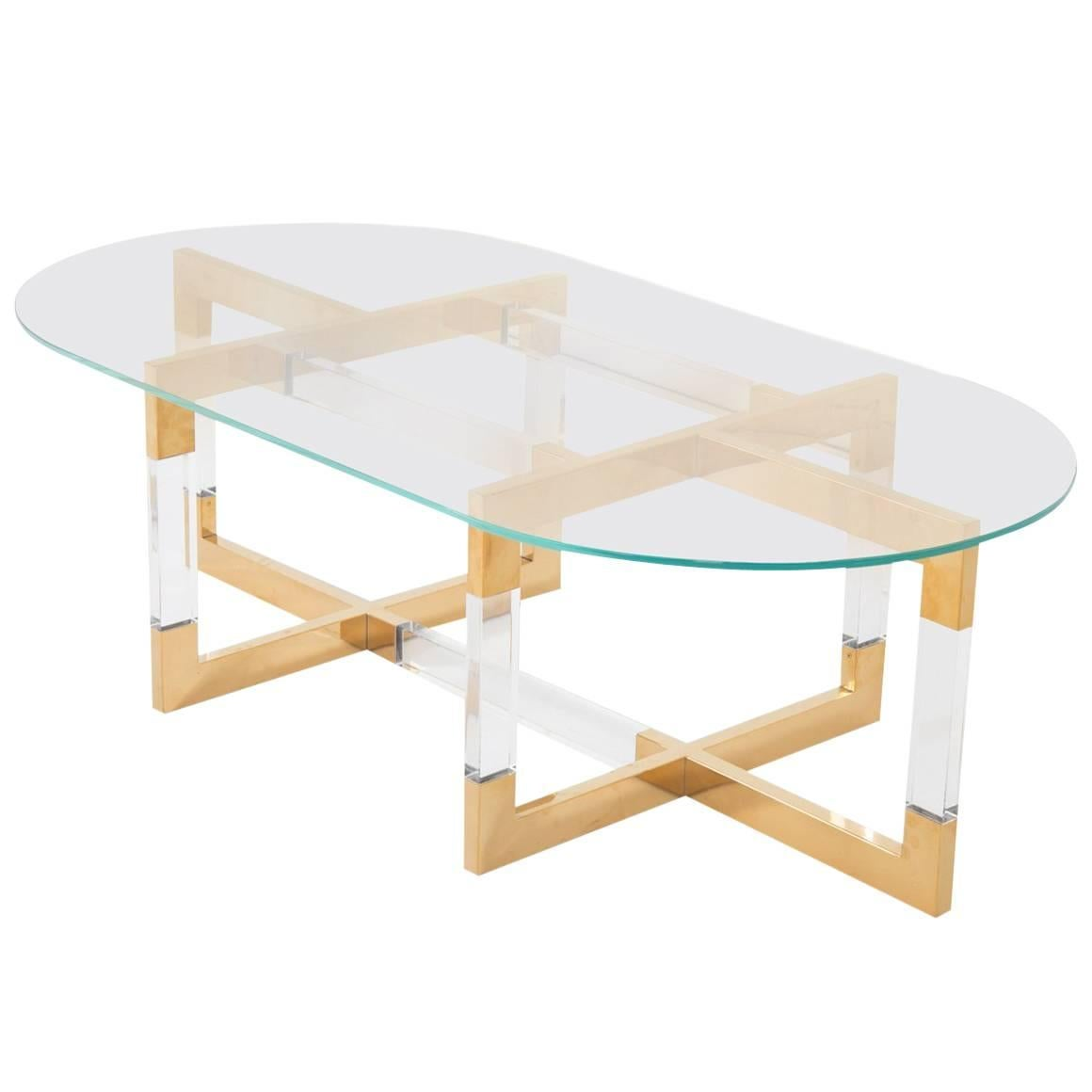 Modern Oval Coffee Table In Brass, Lucite U0026 Glass With Geometric Crisscross  Base