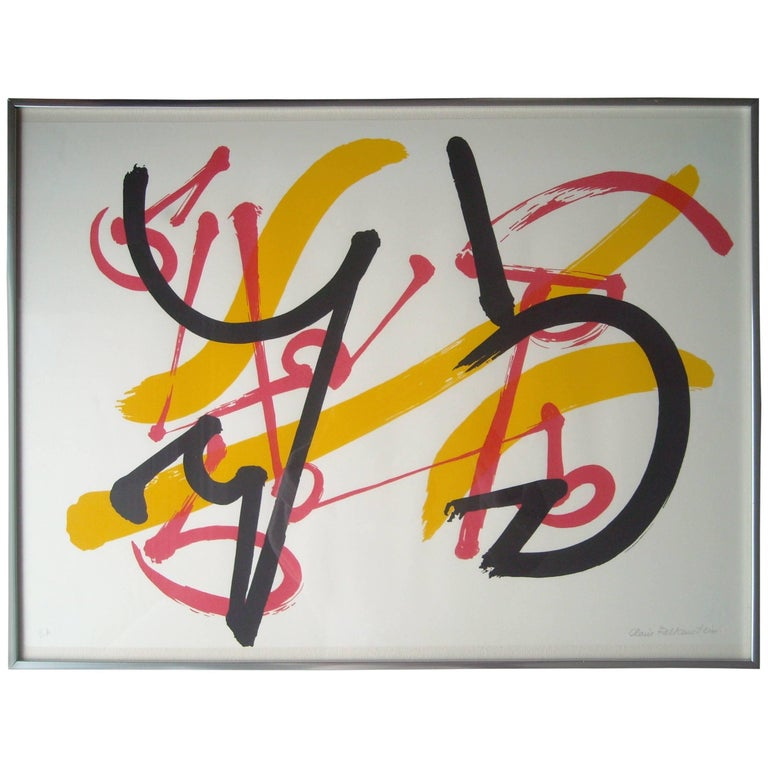 Claire Falkenstein Very Fine Signed Abstract Lithograph, EA in Pencil Framed For Sale