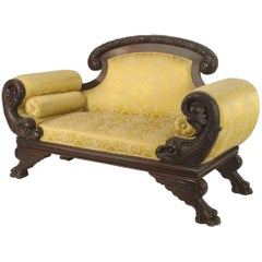 American Victorian Carved Dolphin-Side Roll Arm Loveseat