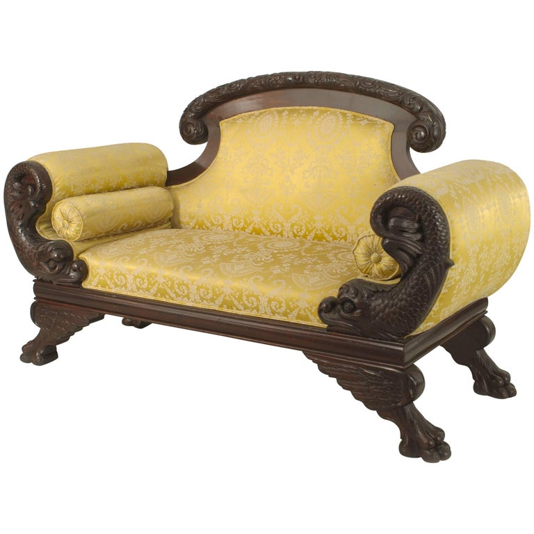 American Victorian Carved Dolphin-Side Roll Arm Loveseat For Sale