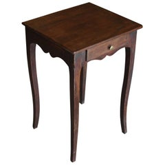 Small French Walnut Side Table with Drawer